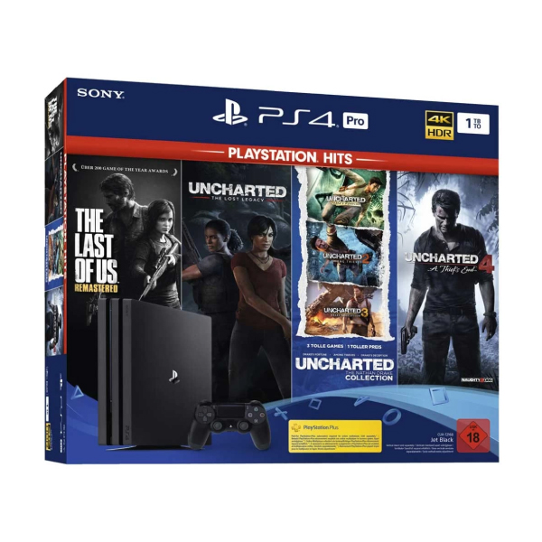 Sony PS4 Pro Jet Black 1TB Gaming Console with 1x Wireless Controller and 4 in1 Game Bundle (The Last of us Remastered, Uncharted, Uncharted Collection, Uncharted 4)