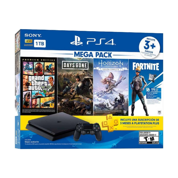 Sony PS4 Slim Jet Black 1TB Gaming Console with 1x Wireless Controller and 4 in1 Game Bundle (GTA V, Days Gone, Horizon Zero Dawn, Fortnite)