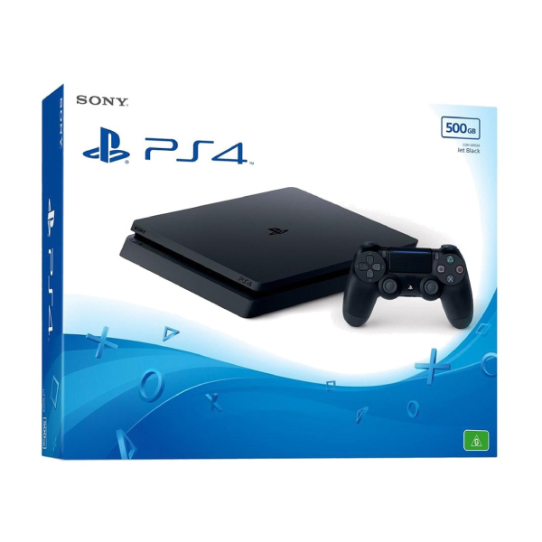 Sony PS4 Slim Jet Black 500GB Gaming Console with 1x Wireless Controller